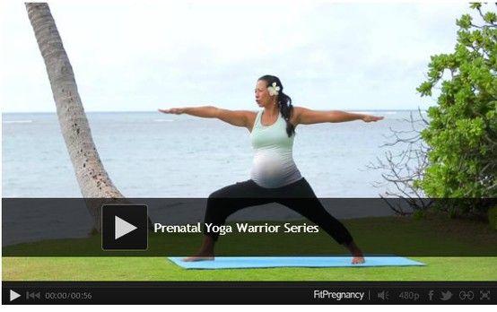Prenatal Yoga Video - Warrior poses. #yoga #video #workouts #fitness