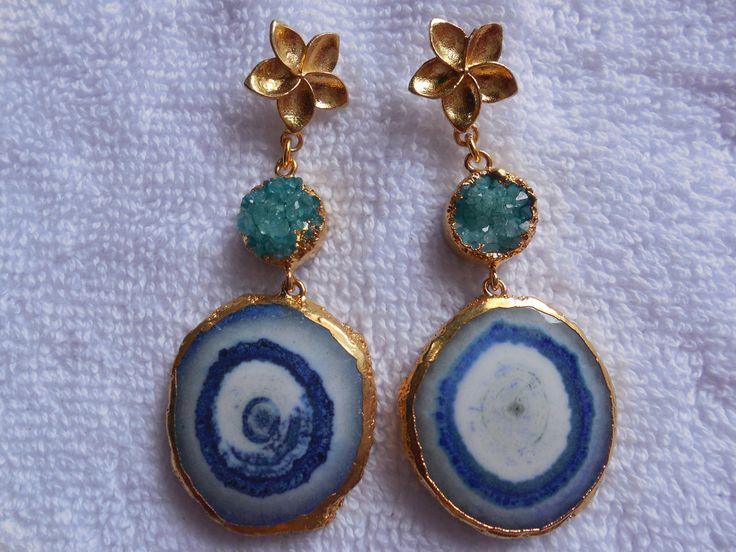 Natural Druzy Earring,24K Gold edge Electroplated Ear dangle,Geode Druzy Gemstone Earring,Long earring,ear jewelry,Boho by InternationalByBeads on Etsy