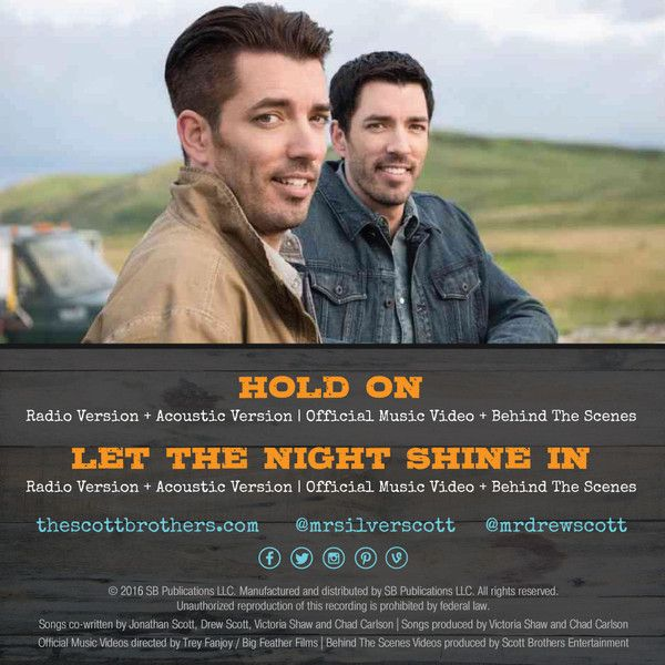 """Order The Scott Brothers' first EP, """"At Home!"""" It includes the radio songs of The Scott Brothers' two hit singles """"Hold On"""" and """"Let the Night Shine In"""""""
