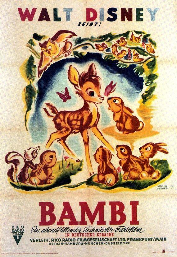 Retro Hollywood Disney Bambi Film Poster