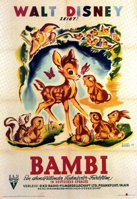 Retro Hollywood Disney Bambi Film Poster