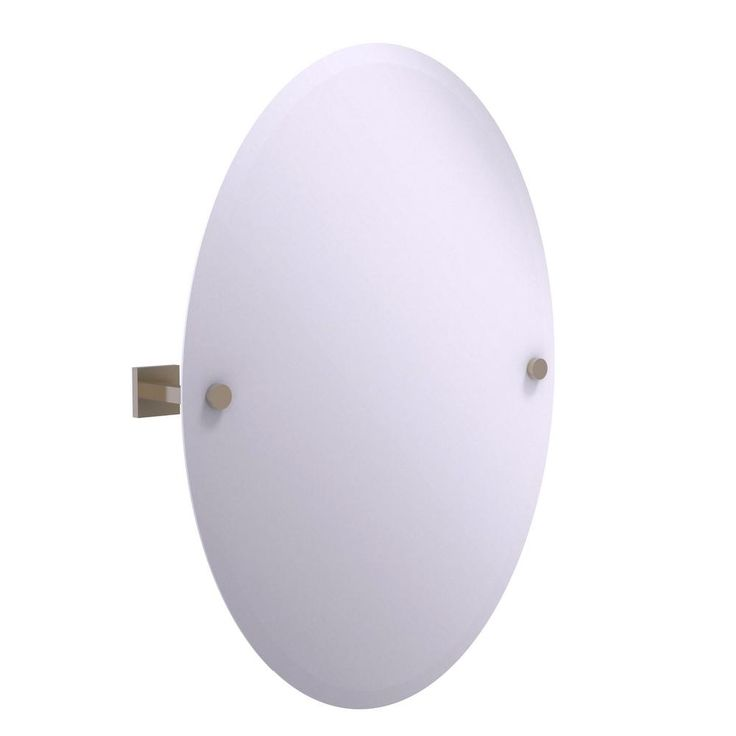 Allied Brass Montero Collection Contemporary Frameless Oval Tilt Mirror with Beveled Edge in Antique Pewter
