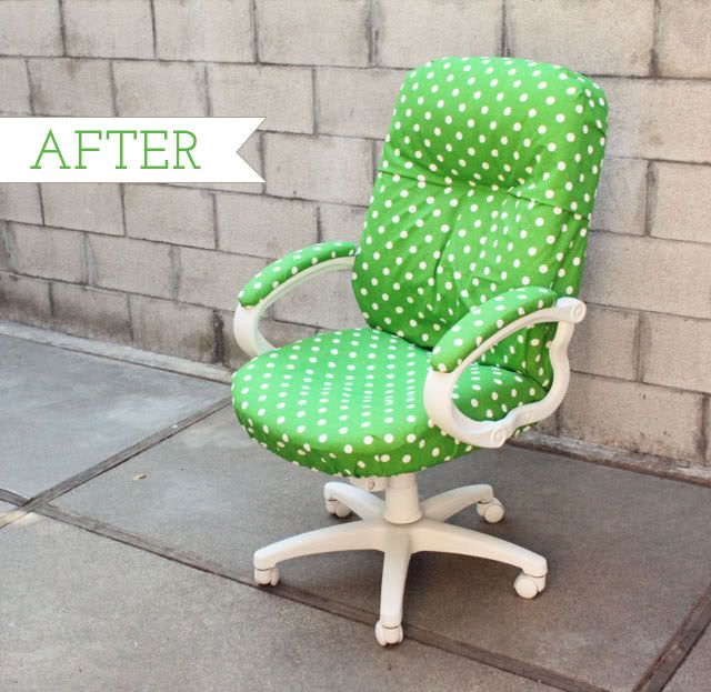Slipcover office chair using velcro and elastic This might work for my thrifted chair with