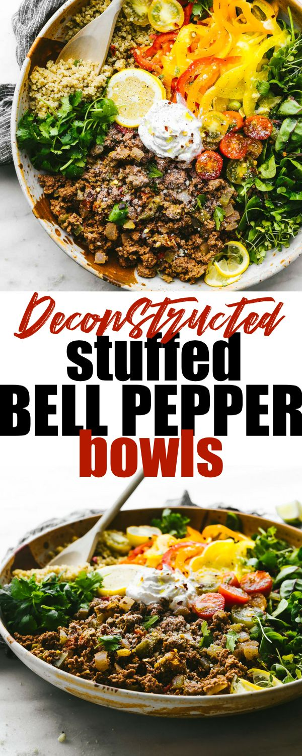 These gluten free Deconstructed Stuffed Bell Pepper Bowls are family friendly, easy to make, easy to clean up and easy to devour! The combo of lean beef and bell peppers make for one iron-boosting and antioxidant-rich bowl. Dairy free friendly and option for vegetarians included! #glutenfree #healthy #dinner #recipes