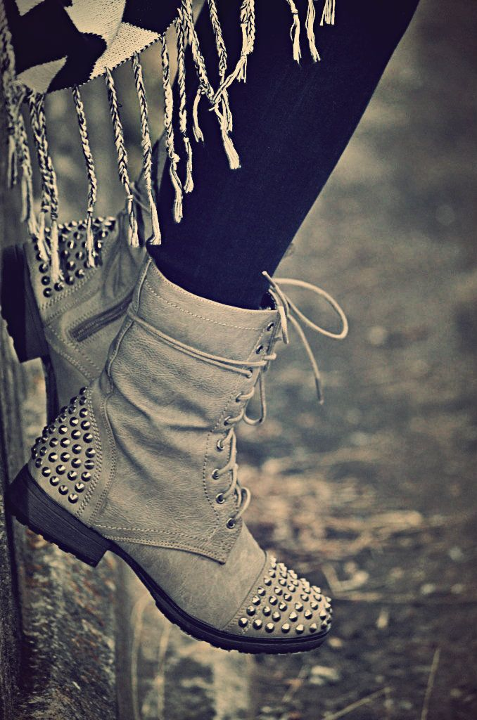 Studded Combat Boots.