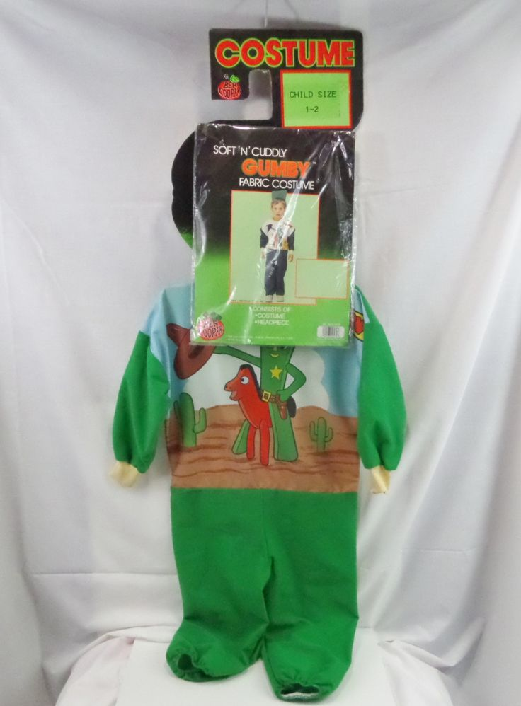 Vintage Gumby Costume 1989 Ben Cooper Inc. still on original hang card with head piece in wrapper - pinned by pin4etsy.com