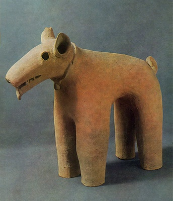 Haniwa terracotta clay figure.  Dog.  Gunma Japan.