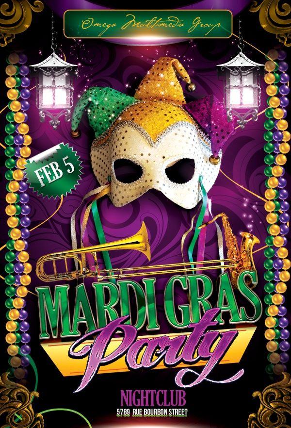 Free Luxurious Mardi Gras Flyer Mockup in PSD