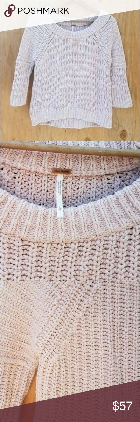 Free people blush pink chunky knit sweater Still new but no tags. Slightly cropped and half sleeved. Perfect for spring. Pair with some booties. Size large Free People Sweaters