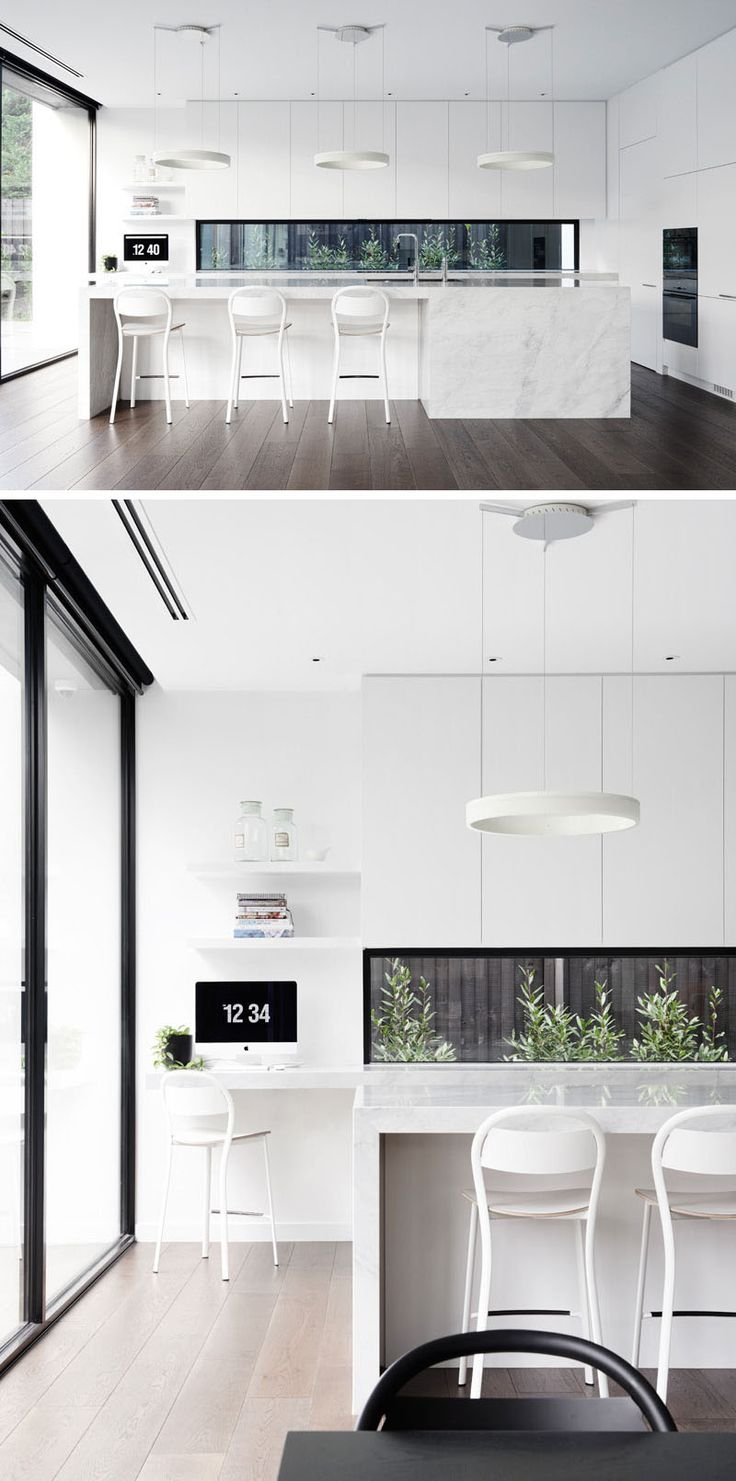 The black frame of the letterbox window in the kitchen of this Melbourne home, complements the other touches of black used throughout the kitchen, and creates a brighter alternative to a backsplash.