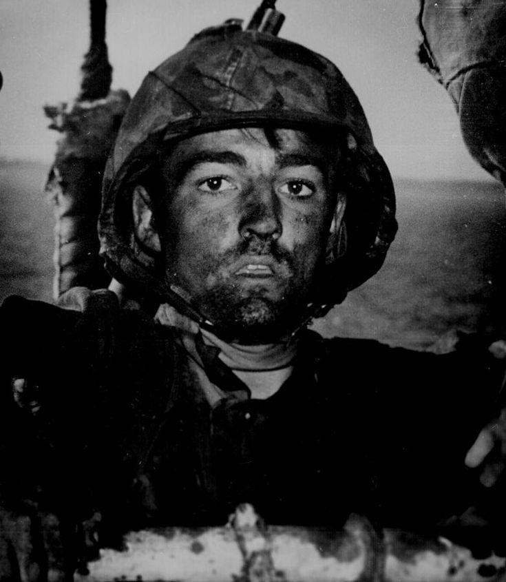 An American Marine exhibits the 1000 Yard  Stare after two days of fighting in the Battle of Eniwetok - https://www.thevintagenews.com/2015/12/12/an-american-marine-exhibits-the-thousand-yard-stare-after-two-days-of-constant-fighting-in-the-battle-of-eniwetok-1944/
