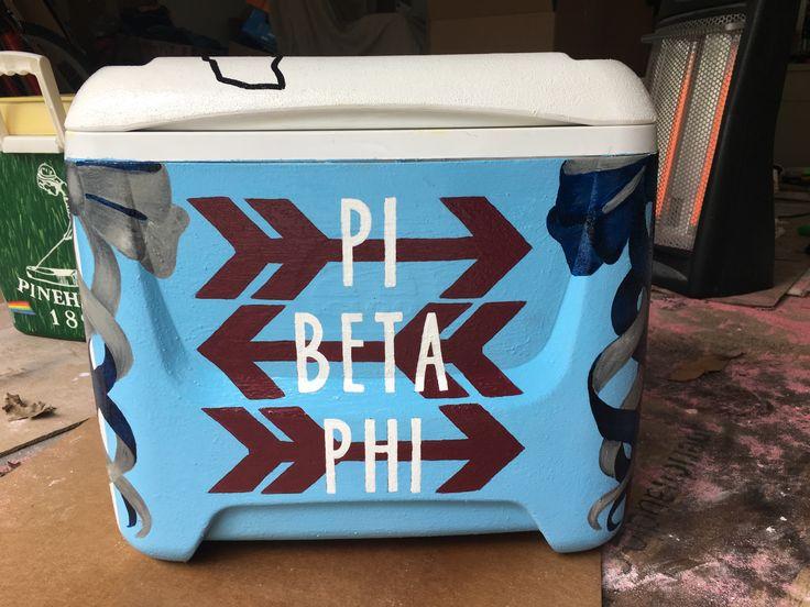 pi beta phi sorority painted cooler