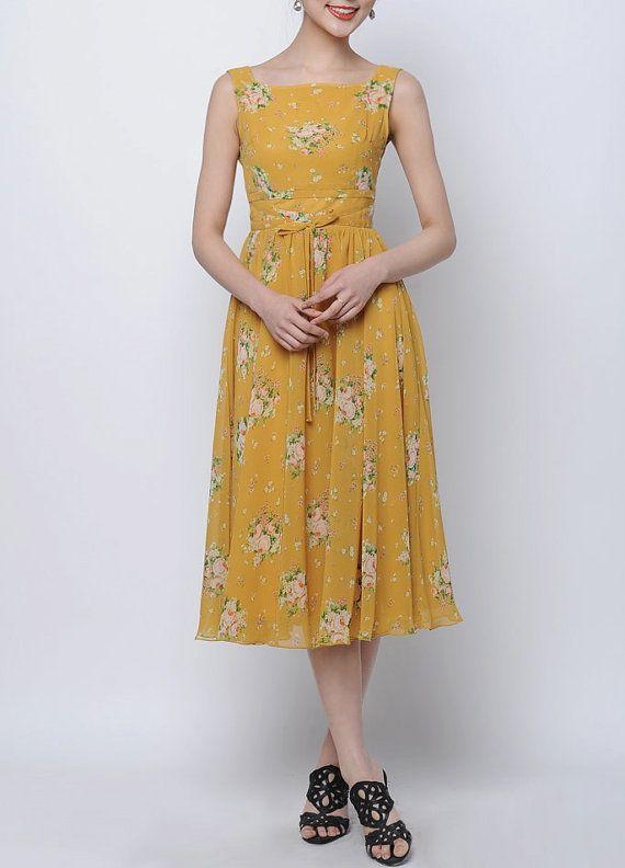 Maxi Dress Yellow Chiffon Dress with yellow by Fashiondress1