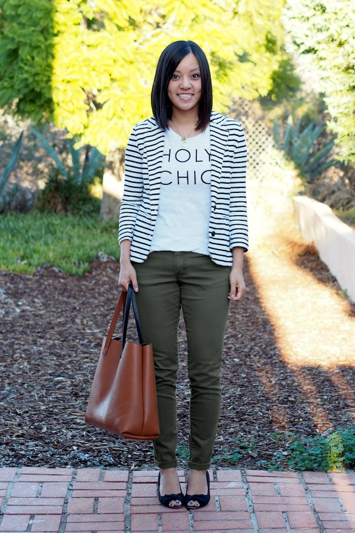 Graphic Tee and Striped Blazer