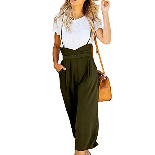 e13adbe2d91a52 GUOLEZEEV Suspender Pants for Women-High Waist Wide Leg Pleated Palazzo  Trousers Overalls