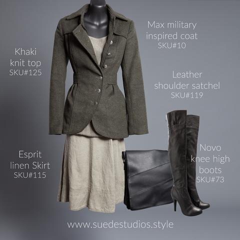 Suede Studios Style: Max military style jacket, Espirit linen skirt, Novo knee high boots & Khaki knit top.