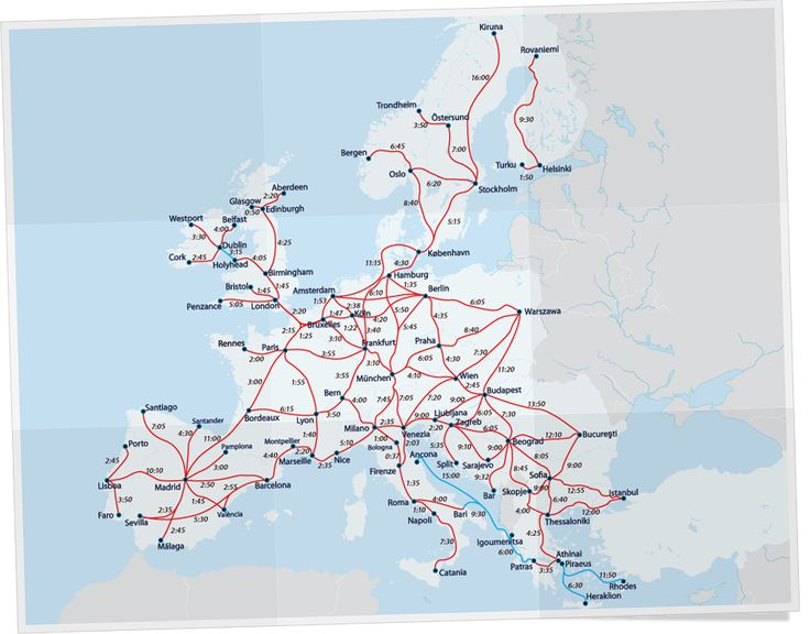 Eurail Time Tables between big cities