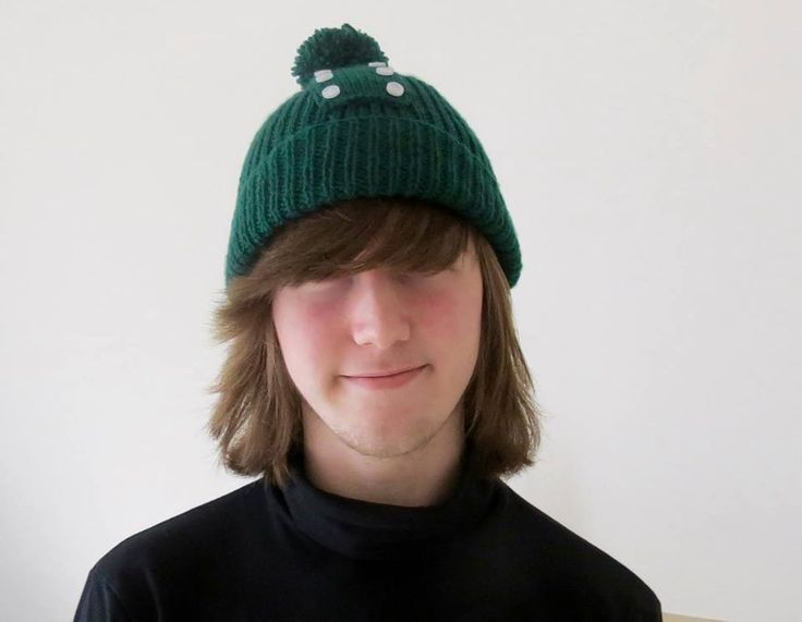 Green Pom Pom Hat - Hand Knitted, £21.99