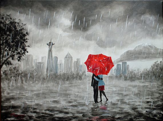black and white seattle skyline painted canvas | original painting,Seattle lover, kissing in rain, black white red,love ...