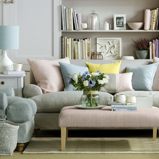 Create a calming, restful scheme with a palette of soft pastels. Co-ordinate your upholstery in tonal pastel shades; try a sofa, chair and footstool in a mix of grey, pale blue and shell pink, then add cushions and throws in matching shades. Line shelves with pretty pastel accessories, as rows of books in sugary tones will complement the scheme.