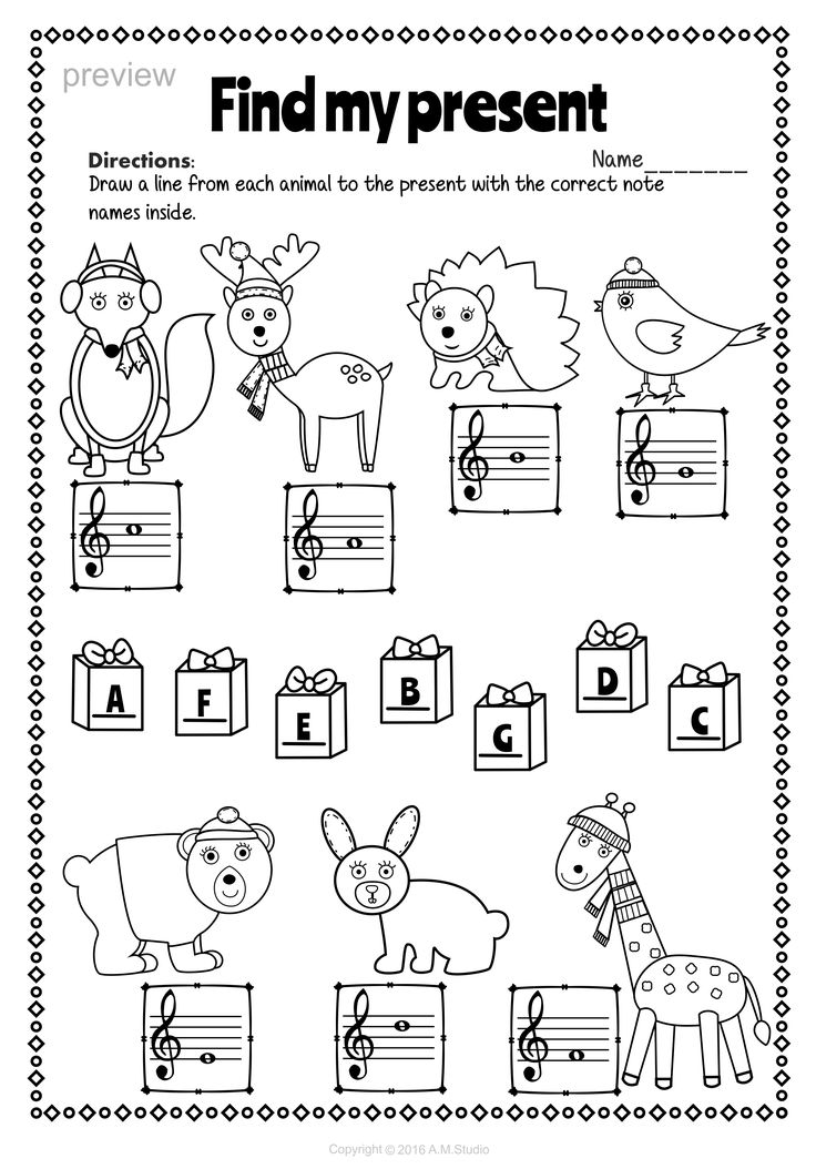 christmas treble clef note reading worksheets  music