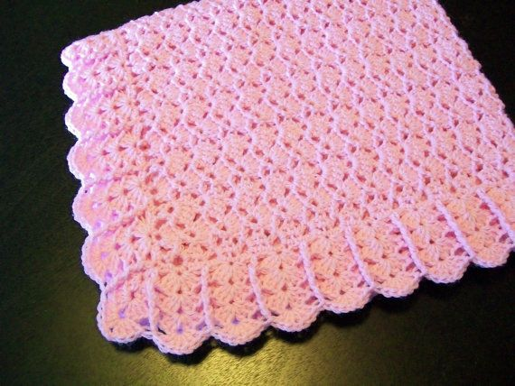Crochet Light Pink Baby girl afghan Blanket - Crib Car Seat Stroller Blanket - Handmade ready to ship