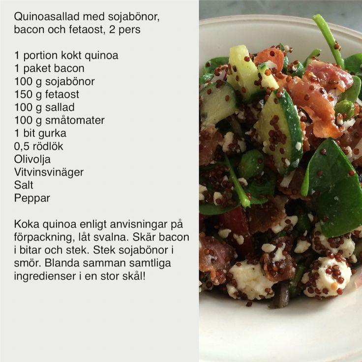 Quinoasallad med sojabönor, bacon och fetaost