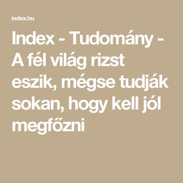 Index - Tudomány - A fél világ rizst eszik, mégse tudják sokan, hogy kell jól megfőzni