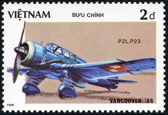 "Stamp: Aircraft PZL - P23 Karas (Vietnam) (""EXPO'86"" World fair Vancouver (Ancient aircraft)) Mi:VN 1722,Sn:VN 1627,Yt:VN 695"
