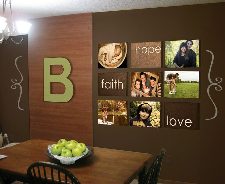 Brown Dining Room Wall Decor Ideas With Wooden Wall And Alsp Some Family  Picture And Quotes Hang On The Wall Also Wooden Table And Black Chairs  Complete ...