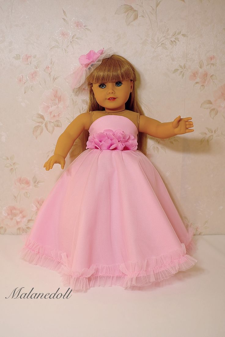 "Pink flowers princess dress for American girl doll 18"" by malanedoll"