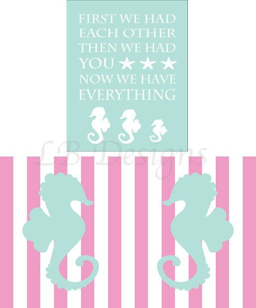 Set of 3 Aqua Blue and Pink Striped Seahorse Nursery by LJBrodock, $25.00 Seahorse Nursery, Mermaid Nursery, Girl Nursery Decor, Nursery Prints, Nursery Art, Seahorses