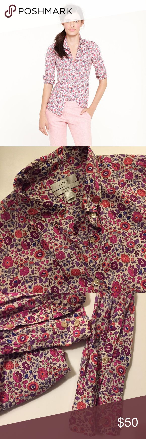 J.Crew Liberty Perfect Shirt Perfect shirt features a slimming waist defining fit that is crafted with the beautiful D'Anjou print from British Liberty Fabrics. 100% cotton. J. Crew Tops Button Down Shirts