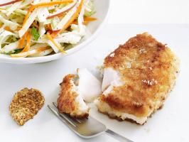 """<a adhocenable=""""false"""" href=""""/content/food/recipes/food-network-kitchens/p/pa/pan/pan-/pan-fried-cod-with-slaw-recipe.html"""">Pan-Fried Cod with Slaw</a> : Need an inspiration for a quick weeknight dinner? Crispy pan-fried cod, breaded with cracker meal and a pinch of cayenne pepper, is not only delicious but also easy to prepare. Serve it with a fresh slaw made from cabbage and apple."""