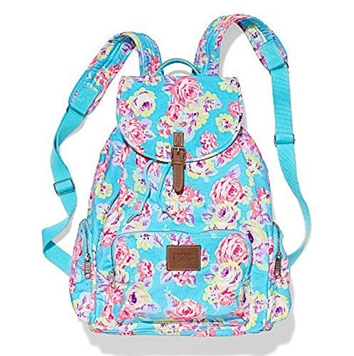 VICTORIA'S SECRET PINK BACKPACK SCHOOL BAG FLORAL, BONUS VS DOG DECAL/STICKER  - Click image twice for more info - See a larger selection of school backpacks at http://kidsbackpackstore.com/product-category/school-backpacks/ - kids, kids backpack, school backpack, everyday backpack, school bag, gift ideas, teens backpacks.