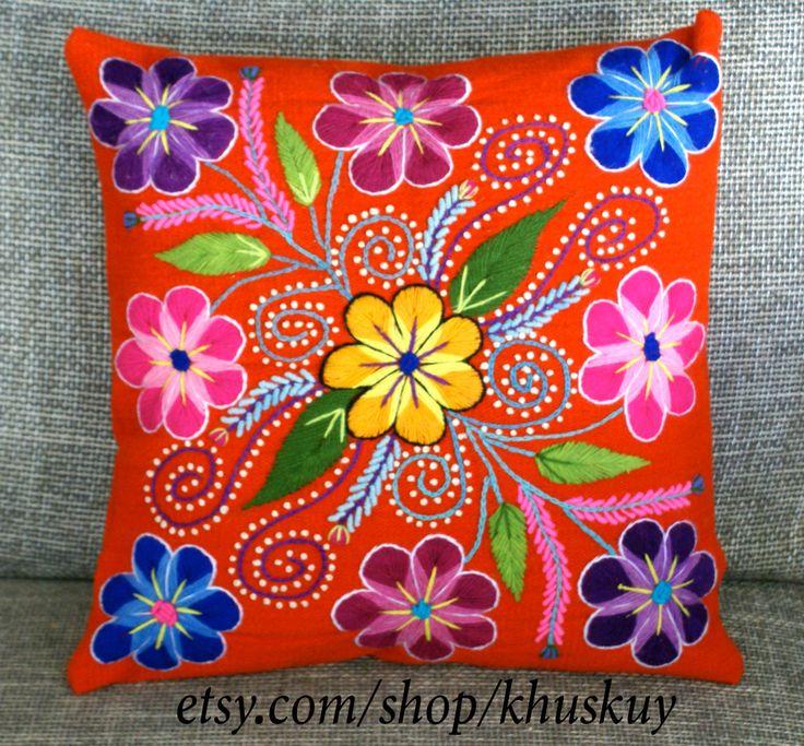 Peruvian Pillow covers Hand embroidered flowers 16 x 16 Sheep & alpaca wool handmade Tangerine Orange by khuskuy on Etsy