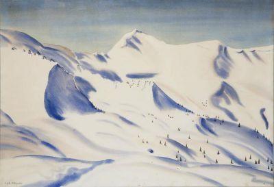 Rafał Malczewski (1892 Kraków - 1965 Montreal) PEJZAŻ Z ZAKOPANEGO akwarela/papier 68 x 99 cm