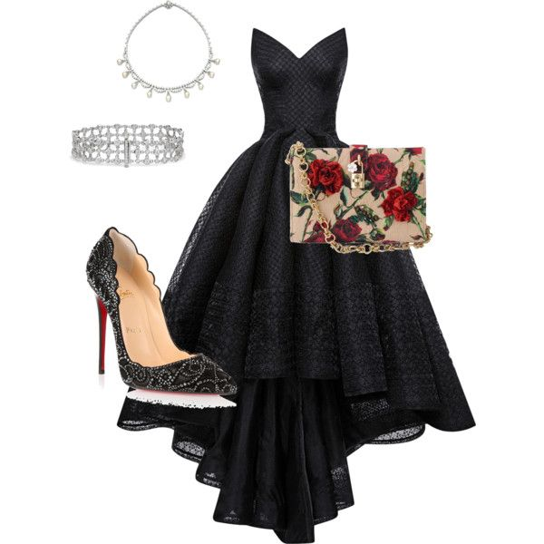 Black beauty by missy-obrien-strickland on Polyvore featuring polyvore, fashion, style, Zac Posen, Christian Louboutin, Dolce&Gabbana and Blue Nile