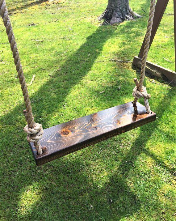 Rectangle Natural Wood Cedar Swing Wooden Tree Swing Etsy In 2020 Wooden Tree Swing Tree Swing Outdoor Wooden Swing