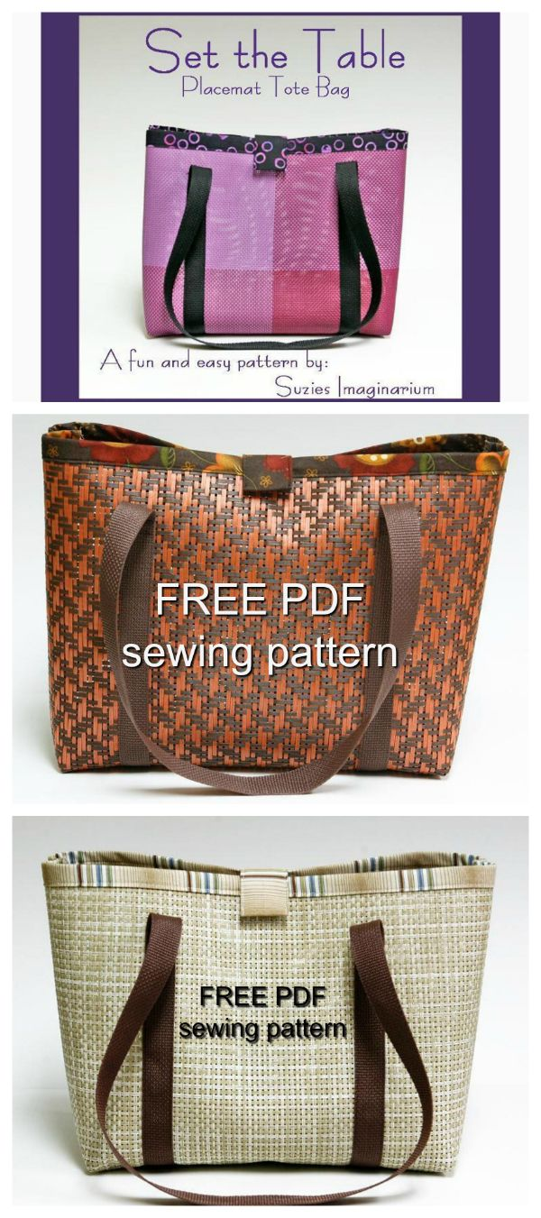 FREE PDF bag sewing pattern. Super fast and fun! Take a trip to the discount store and pick up some vinyl placemats, then, turn them into a versatile, strong and very cute tote bag! Everyone will be amazed that you made it from a couple of abandoned vinyl placemats. Add your coordinating trim, some straps and WOW!...what a quick and easy gift!