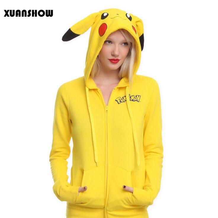 2017ファッション女性ジャケット黄色固体ポケモンピカチュウプリント衣装テールジップパーカートトロパーカースウェットシャツsudaderas mujer