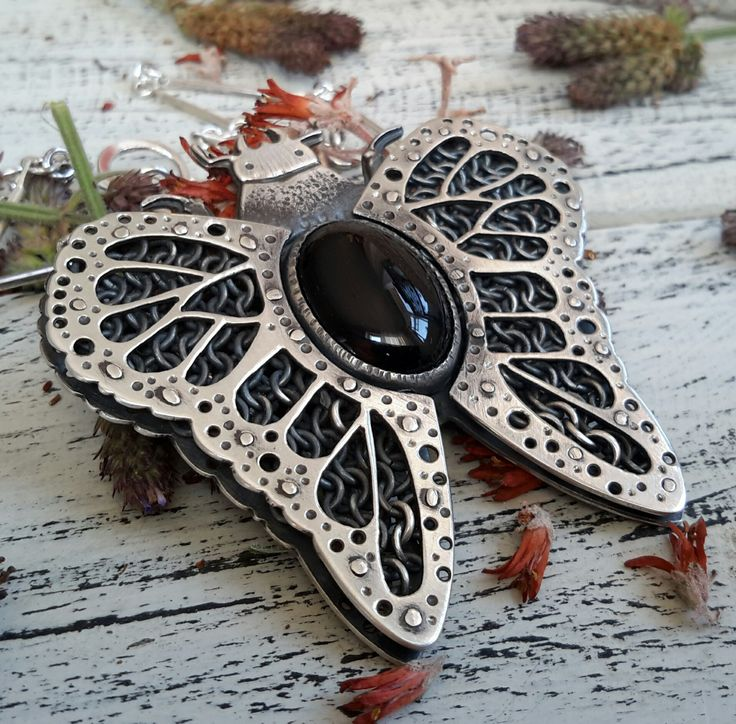 Stag Beetle pendant with handwoven chainmaille wings and oval Onyx