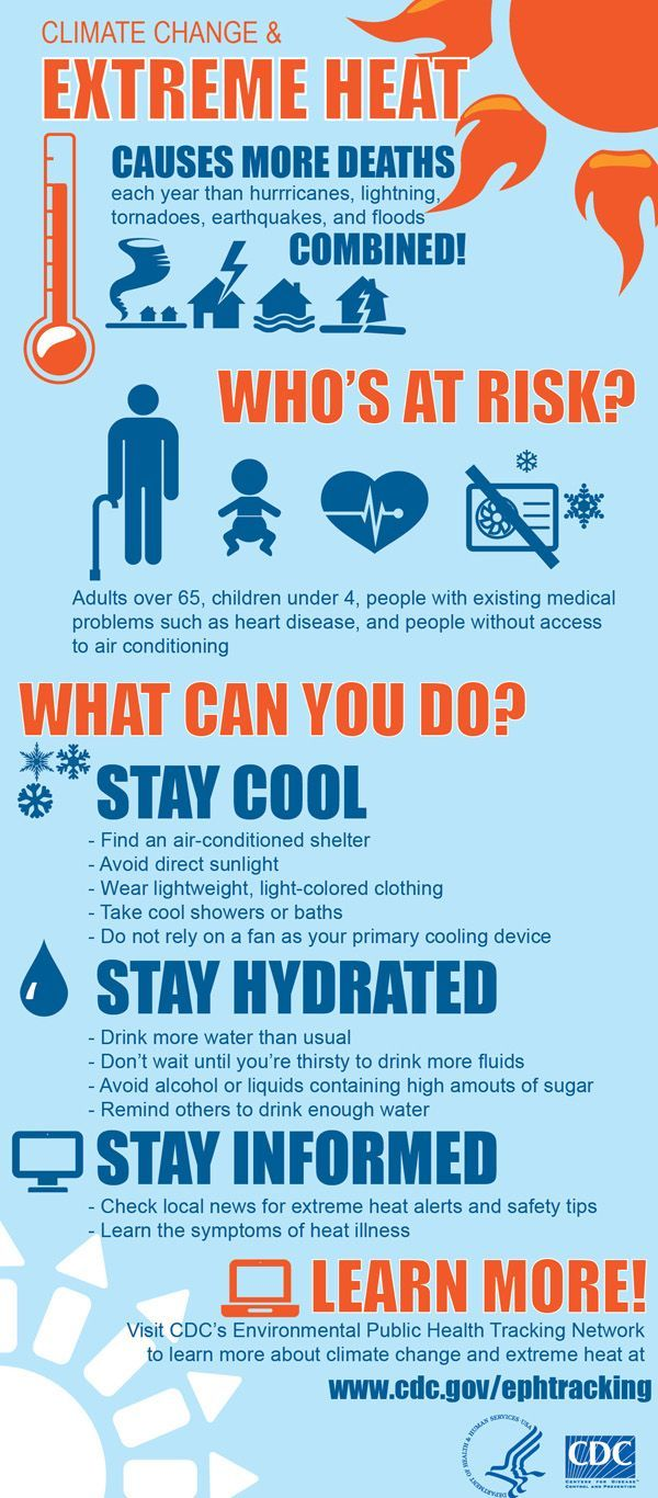 Extreme Heat - Infographic with tips to prevent heat-related illness #CDC #heatstress