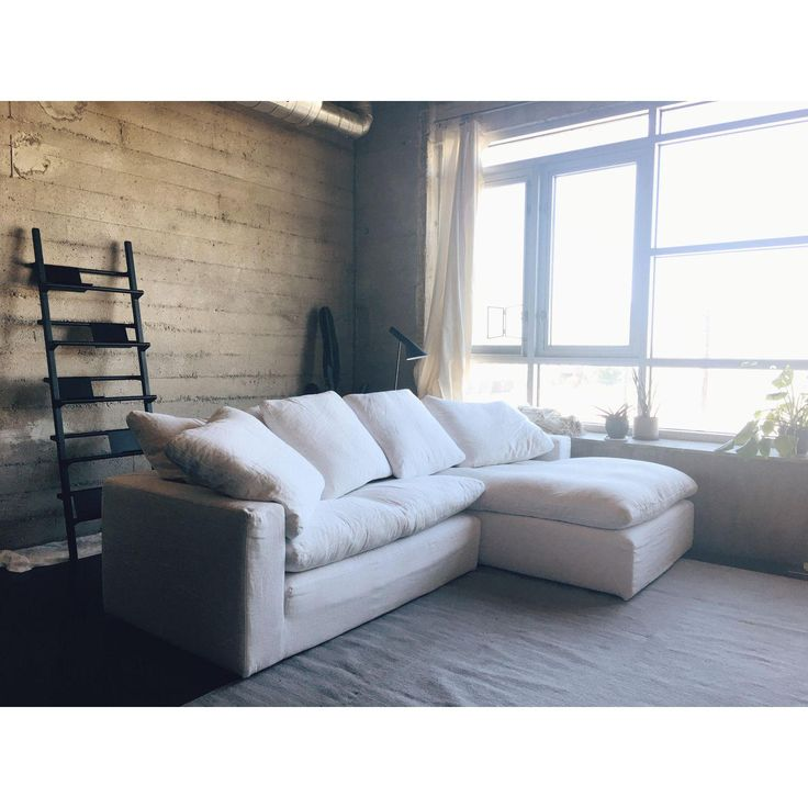 Image Of Restoration Hardware Cloud Track Arm Slipcovered Right-Arm Chaise  Sectional