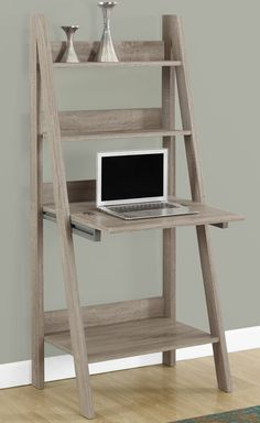 Features:  -Ladder style shelves.  -Closed storage drops down to create work area ideal for laptops.  -Convenient for small spaces.  Top Material: -Wood.  Base Material: -Manufactured Wood.  Desk Type