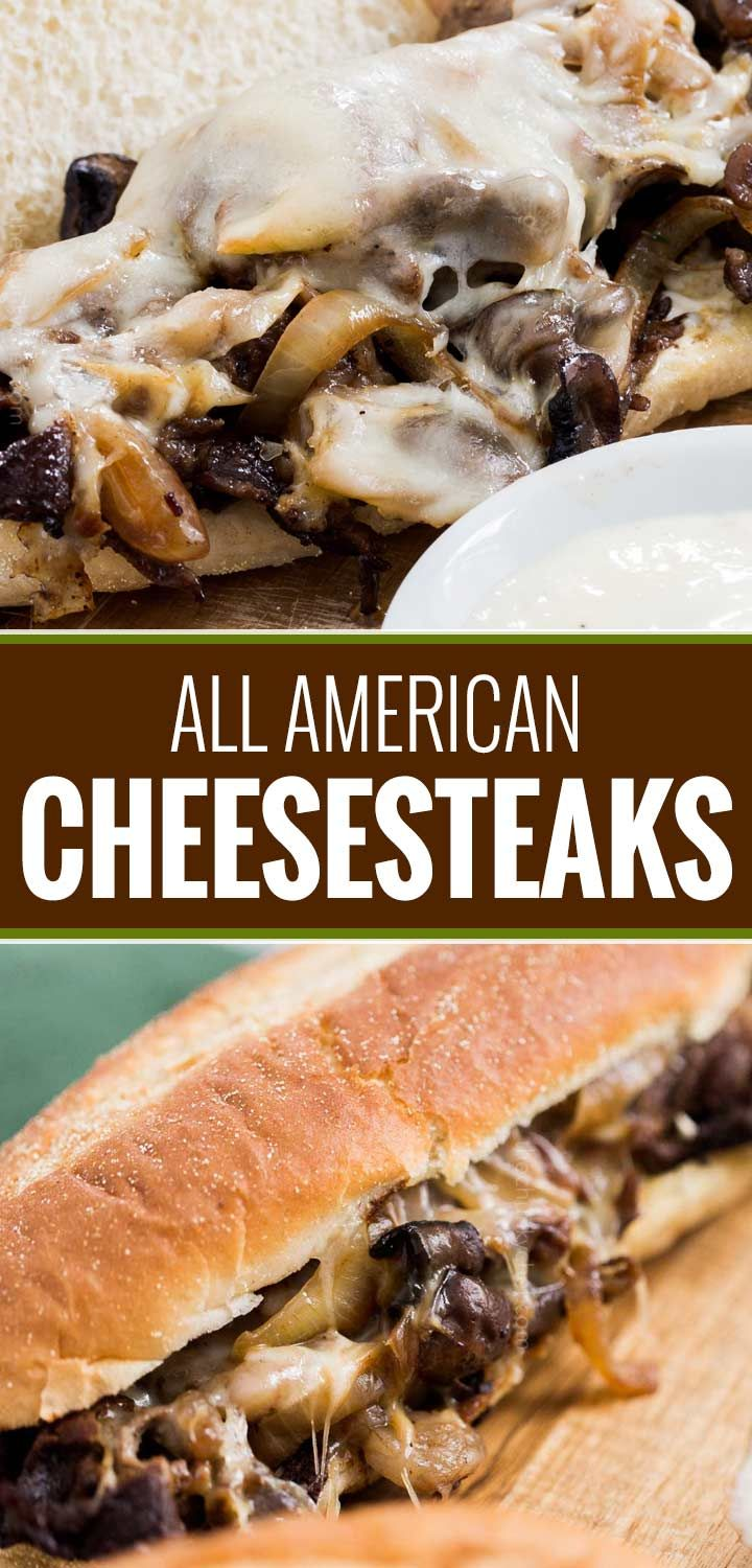Juicy ribeye steak, caramelized onions and mushrooms, gooey provolone cheese and a mouthwatering horseradish sauce... it's the perfect All-American Cheesesteak!   #cheesesteak #phillycheesesteak #hoagie #sandwich