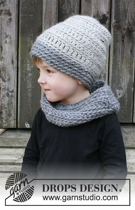 The set consists of: Children's crochet hat and neck warmer with textured pattern. Sizes 2 - 12 years. The set is worked in DROPS Eskimo.