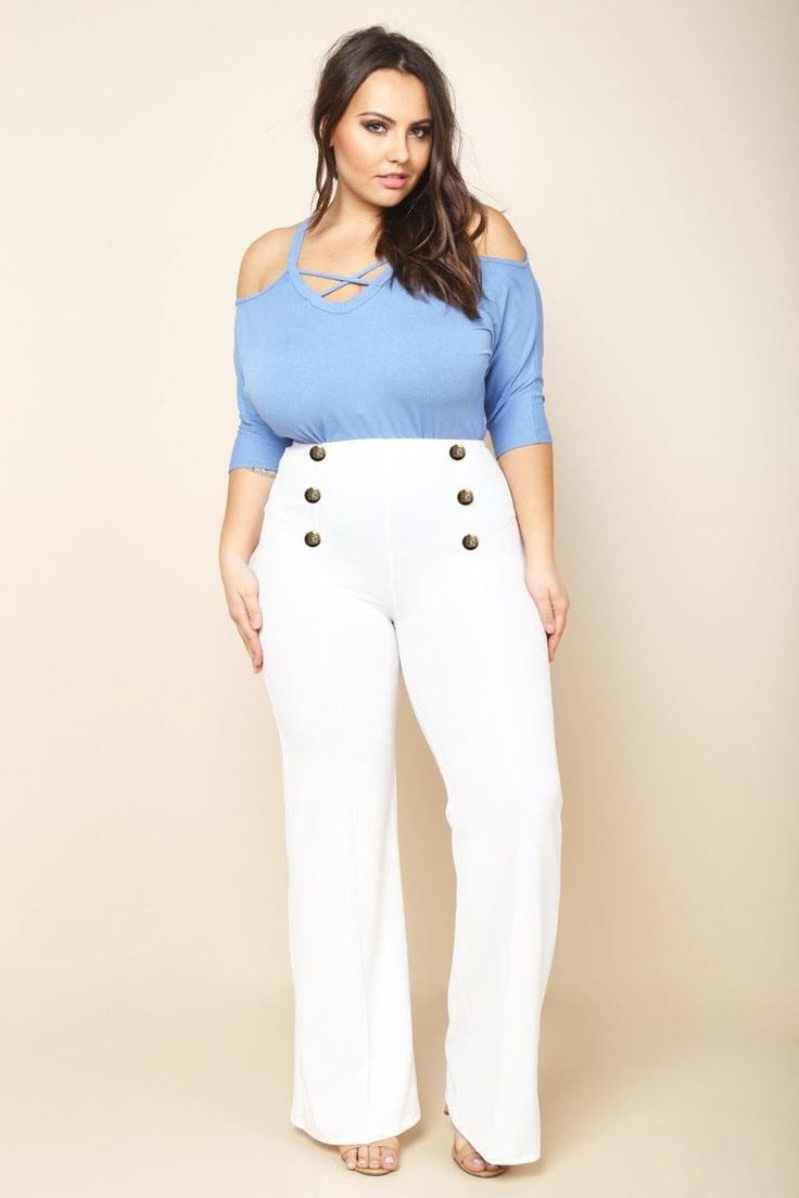 Double Breasted Plus Size Palazzo Pants White