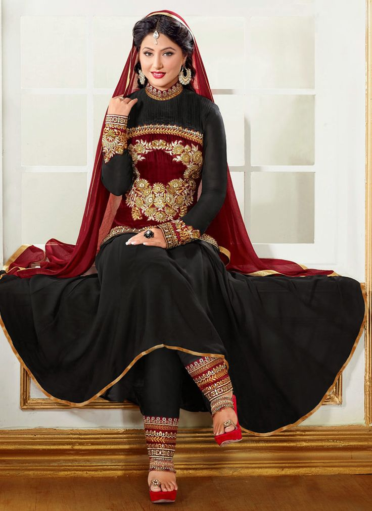Hina Khan Embroidered Straight Pant Suit