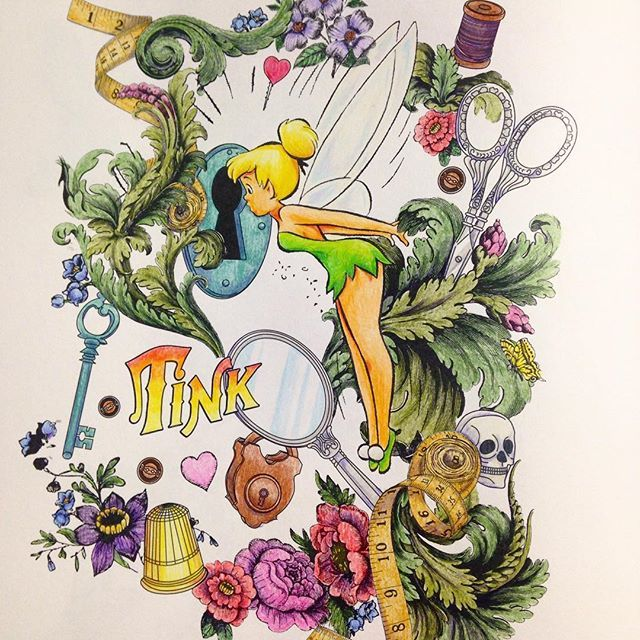 ティンクこれでおしまい なんか文字の色がインディジョーンズ風だ。 #塗り絵 #大人の塗り絵 #コロリアージュ #ディズニー塗り絵 #ディズニーガールズカラーリングブック #ディズニーガールズ #coloringbook #coloriage #ティンカーベル
